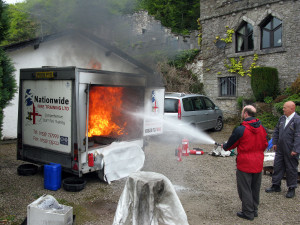 James using a fire extinguisher 17 May 2012