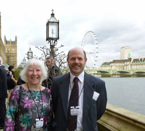 Valerie Kennedy and James Woolgrove on the terrace at Westminster Palace